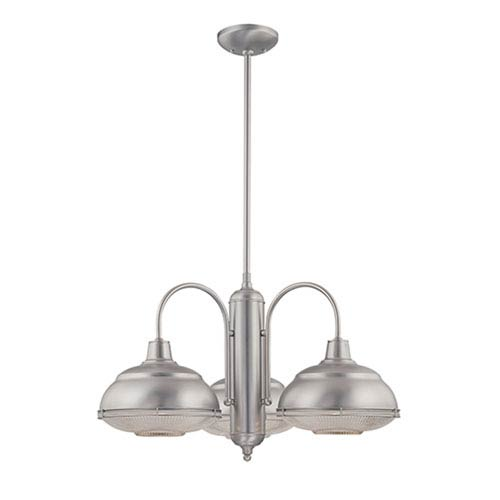Millennium Lighting Neo-Industrial Satin Nickel Three-Light Chandelier with Clear Crosscut Glass