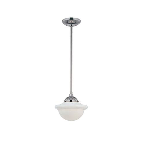 Neo-Industrial Chrome One-Light Mini Pendant with Opal White Schoolhouse Glass
