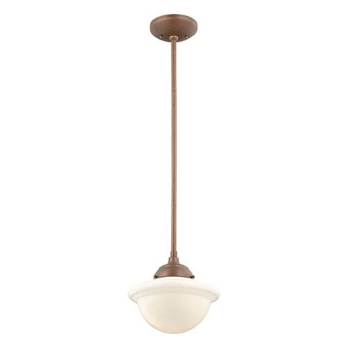 Neo-Industrial Copper One-Light Mini Pendant with Opal White Schoolhouse Glass
