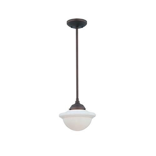 Neo-Industrial Rubbed Bronze One-Light Mini Pendant with Opal White Schoolhouse Glass