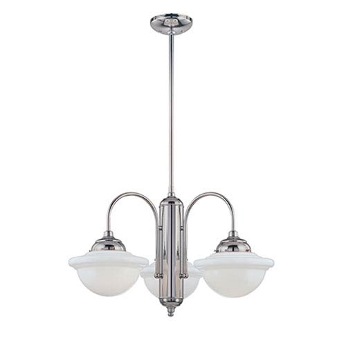 Neo-Industrial Chrome Three-Light Chandelier with Opal White Schoolhouse Glass