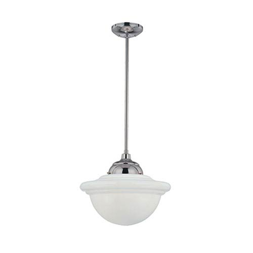 Neo-Industrial Chrome One-Light Pendant with Opal White Schoolhouse Glass