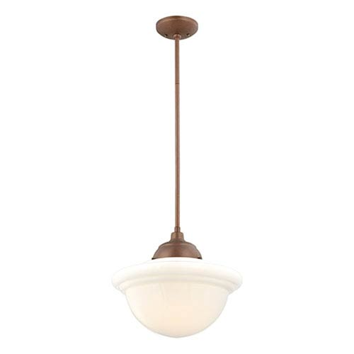 Millennium Lighting Neo-Industrial Copper One-Light Pendant with Opal White Schoolhouse Glass