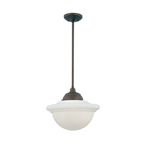 Neo-Industrial Rubbed Bronze One-Light Pendant with Opal White Schoolhouse Glass