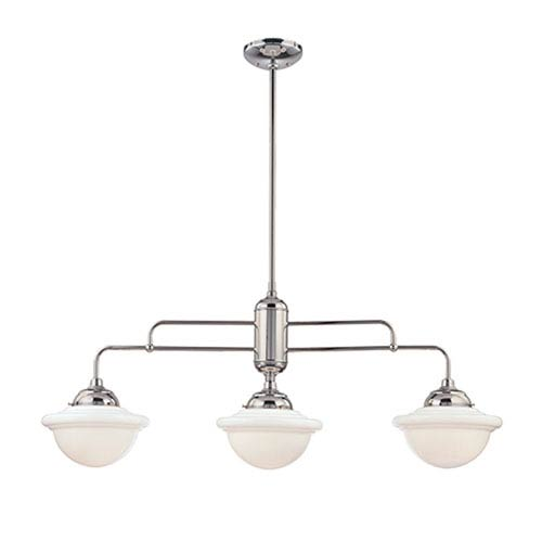 Neo-Industrial Chrome Three-Light Island Pendant with Opal White Schoolhouse Glass