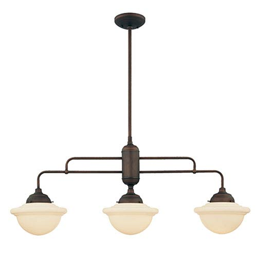 Millennium Lighting Neo Rubbed Bronze Three Light Island Pendant With Opal White Schoolhouse Gl
