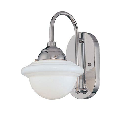 Neo-Industrial Chrome One-Light Sconce with Opal White Schoolhouse Glass
