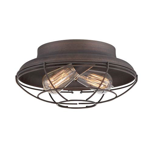 Millennium Lighting Neo-Industrial Rubbed Bronze 12-Inch Two-Light Flush Mount