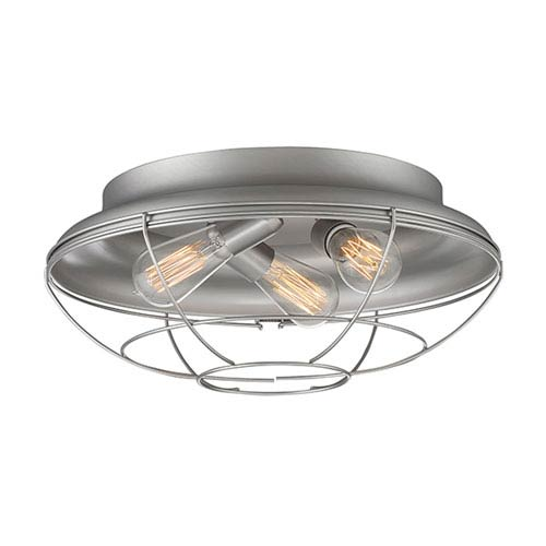 Neo-Industrial Satin Nickel Three-Light Flush Mount