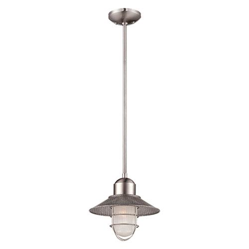 Millennium Lighting Neo-Industrial Brushed Nickel One Light Pendant with Sandblasted and Clear Glass