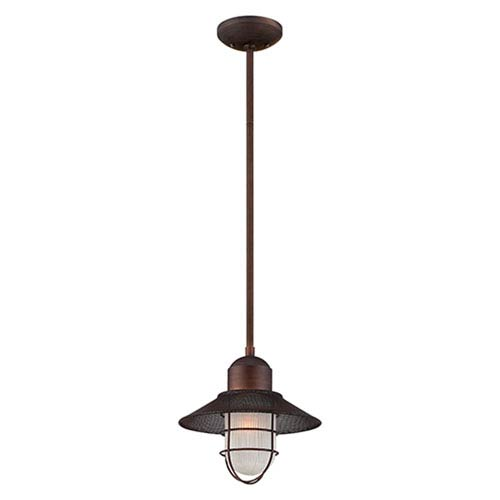Neo-Industrial Rubbed Bronze One Light Pendant with Sandblasted and Clear Glass