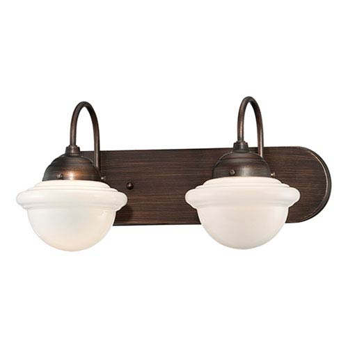 Millennium Lighting Neo-Industrial Rubbed Bronze Two Light Vanity Fixture with Opal White Schoolhouse Glass