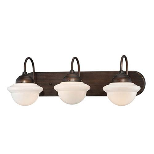 Neo-Industrial Rubbed Bronze Three Light Vanity Fixture with Opal White Schoolhouse Glass