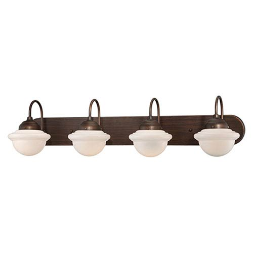 Millennium Lighting Neo-Industrial Rubbed Bronze Four Light Vanity Fixture with Opal White Schoolhouse Glass