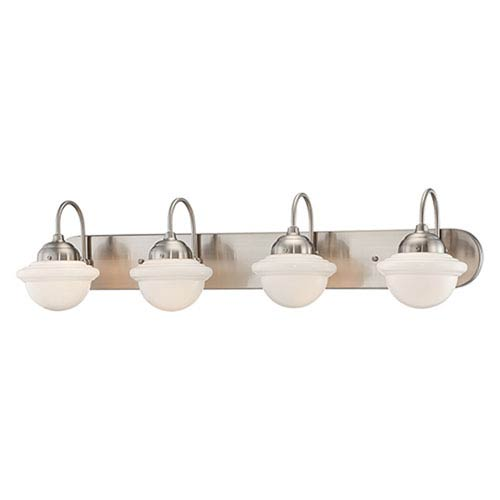 Neo-Industrial Satin Nickel Four Light Vanity Fixture with Opal White Schoolhouse Glass