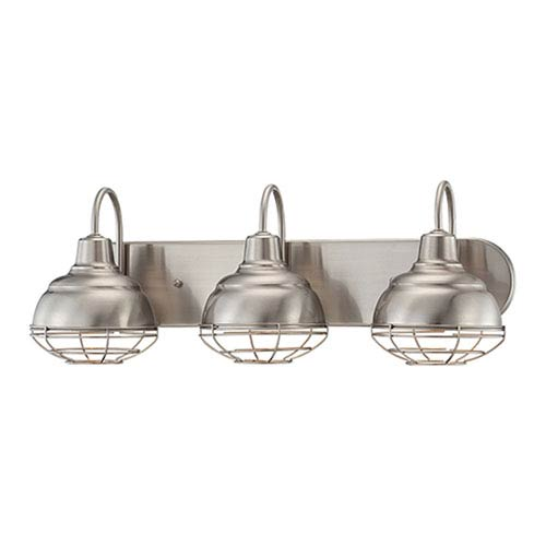 Neo-Industrial Satin Nickel 9 x 24.5-Inch Three Light Vanity Fixture