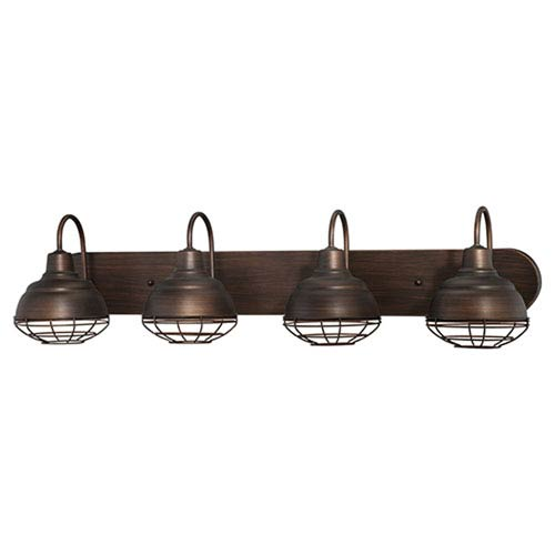Millennium Lighting Neo-Industrial Rubbed Bronze 9 x 36.25-Inch Four Light Vanity Fixture