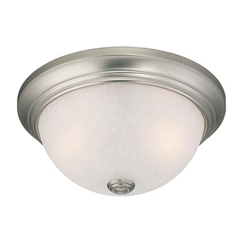 Millennium Lighting Satin Nickel Two Light Flush Mount Fixture with Light India Scavo Glass
