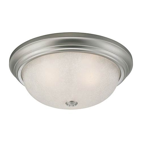 Millennium Lighting Satin Nickel 5.5 x 13-Inch Two Light Flush Mount Fixture with Light India Scavo Glass