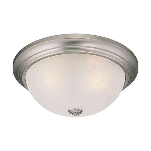Millennium Lighting Satin Nickel Three Light Flush Mount Fixture with Light India Scavo Glass
