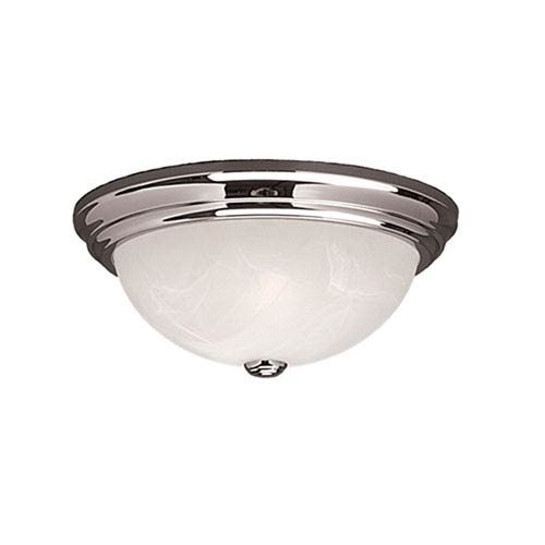 Millennium Lighting Chrome Two-Light Flush Mount with Faux Alabaster Glass