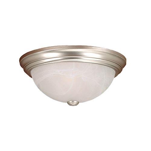 Satin Nickel Three-Light Flush Mount with Faux Alabaster Glass