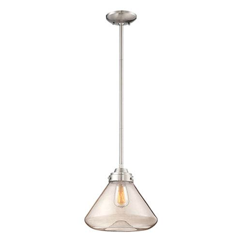 Millennium Lighting Brushed Nickel One Light 12.5-in Pendant with Clear Glass