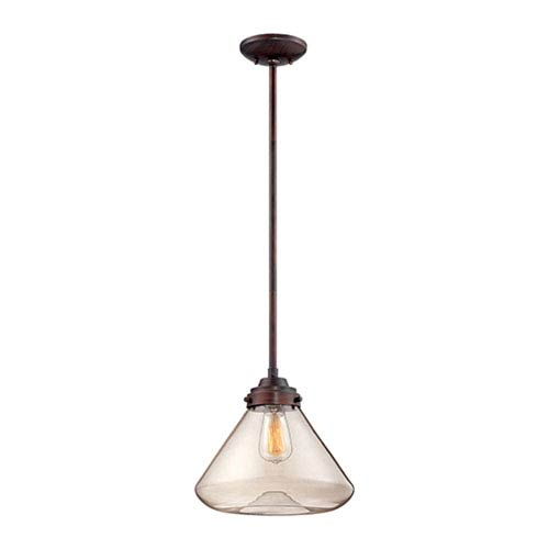 Rubbed Bronze One Light 12.5-in Pendant with Clear Glass