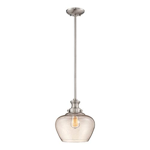 Brushed Nickel One Light 11-in Pendant with Clear Glass