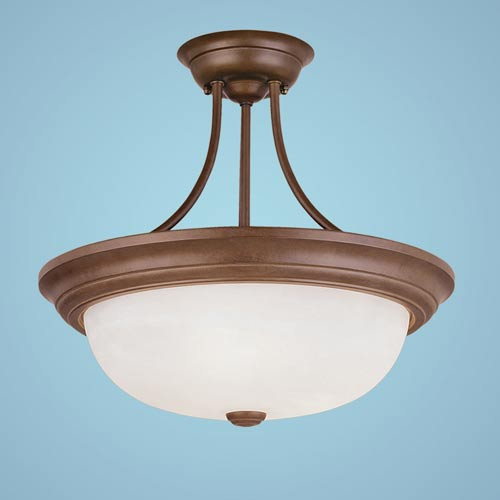 Millennium Lighting Bronze Three-Light Semi-Flush with Faux Alabaster Glass