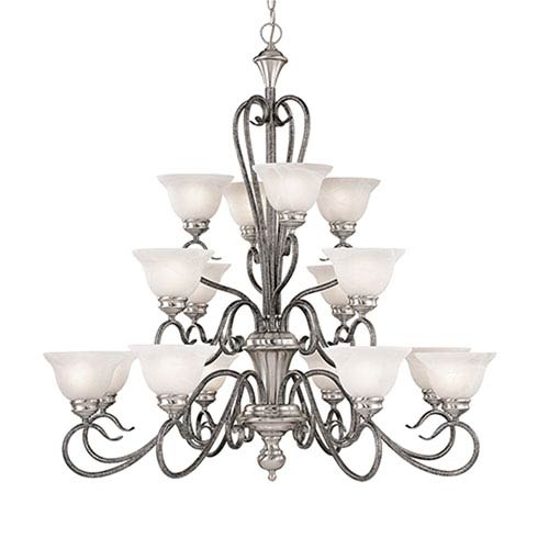 Millennium Lighting Devonshire Satin Nickel/Silvermist Sixteen-Light Chandelier with Faux Alabaster Glass