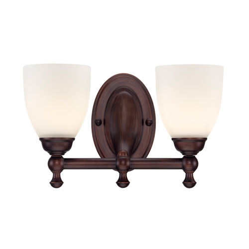 Millennium Lighting Rubbed Bronze Two-Light Bath Fixture w/ Etched White Glass