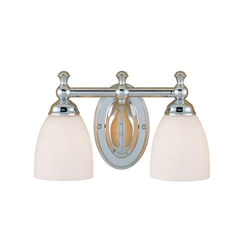 Millennium Lighting Chrome Two-Light Bath Light with Etched White Glass