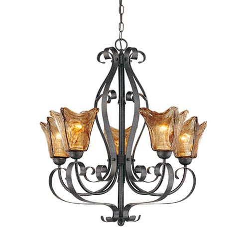 Chatsworth Burnished Gold Five-Light Chandelier with Umber Swirl Glass