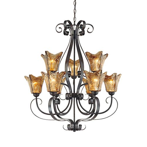 Chatsworth Burnished Gold Nine-Light Chandelier with Umber Swirl Glass