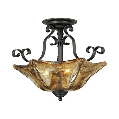 Chatsworth Burnished Gold Three-Light Semi-Flush with Umber Swirl Glass
