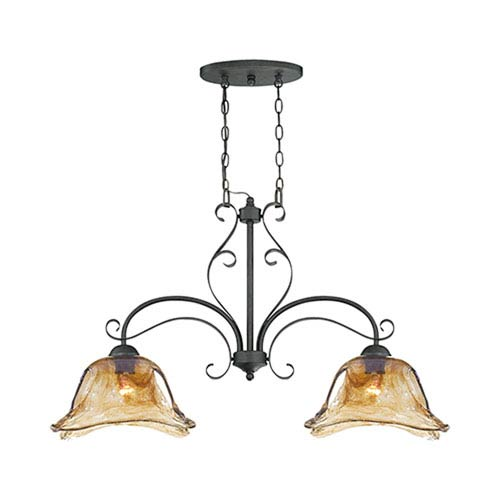 Millennium Lighting Chatsworth Burnished Gold Two-Light Island Pendant with Umber Swirl Glass