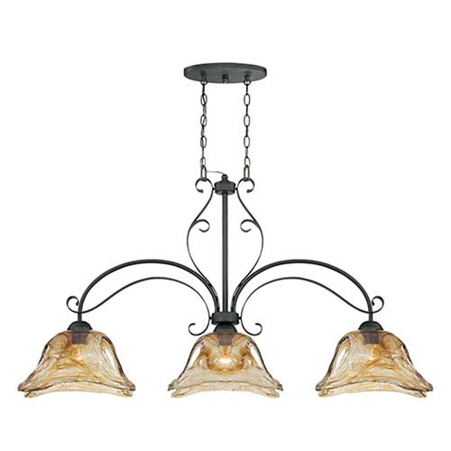 Millennium Lighting Chatsworth Burnished Gold Three-Light Island Pendant with Umber Swirl Glass
