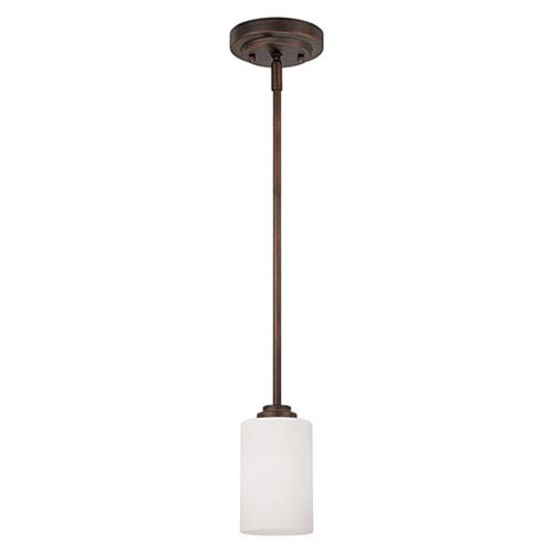 Bristo Rubbed Bronze One Light Mini Pendant with Etched White Glass
