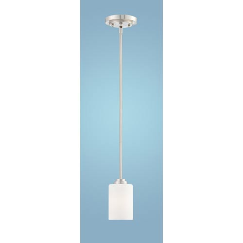 Millennium Lighting Bristo Satin Nickel One-Light Mini Pendant with Etched White Glass