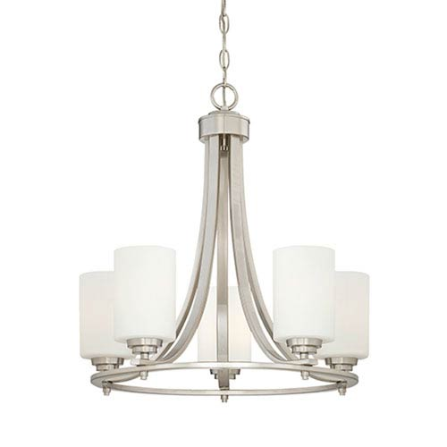 Bristo Satin Nickel Five-Light Chandelier with Etched White Glass