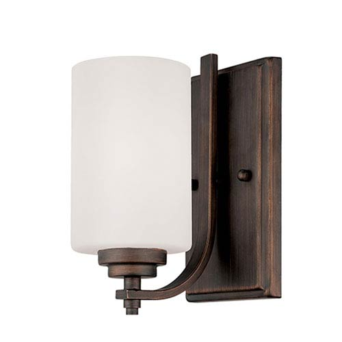 Bristo Rubbed Bronze One Light Sconce with Etched White Glass