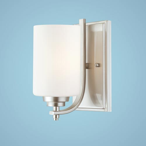Millennium Lighting Bristo Satin Nickel One-Light Sconce with Etched White Glass