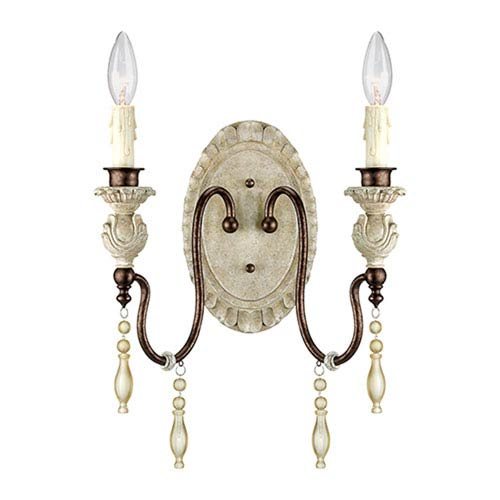 Millennium Lighting Denise Antique White and Bronze Two-Light Wall Sconce