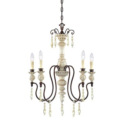 Millennium Lighting Denise Antique White and Bronze Five-Light Chandelier Ceiling Light