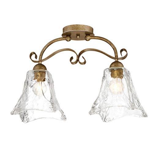 Chatsworth Vintage Gold Two-Light Semi Flush
