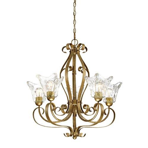 Chatsworth Vintage Gold Five-Light Chandelier