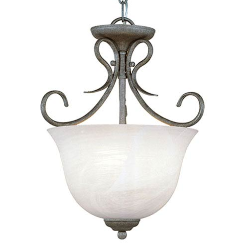 Antique Pewter Three-Light Pendant with Faux Alabaster Glass