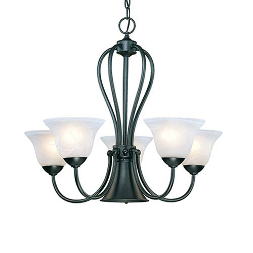 Millennium Lighting Main Street Black Six-Light Chandelier with Faux Alabaster Glass