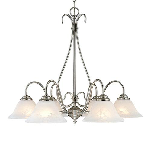Satin Nickel Six-Light Chandelier with Faux Alabaster Glass